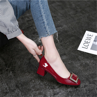 Women Pumps Wedding Shoes 5cm Block Med Heels Buckle Red Blue Fashion Glossy Genuine Leather Pumps 2019 New Ladies Office Shoes