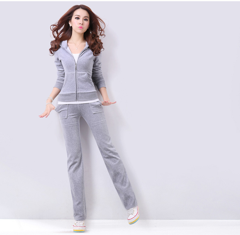 Spring Fall 2016 Women's Fashion Brand Velvet Fabric Tracksuits Velour Suit Track Suit Hoodies And Pants Plus Size S   XXL-in Women's Sets from Women's Clothing    1