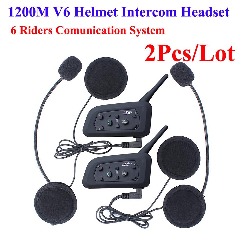 2 Pcs V6 Helmet Intercom 6 Riders 1200M Motorcycle Bluetooth Intercom Headset Intercomunicador Del Casco V6 Intercom Headsets