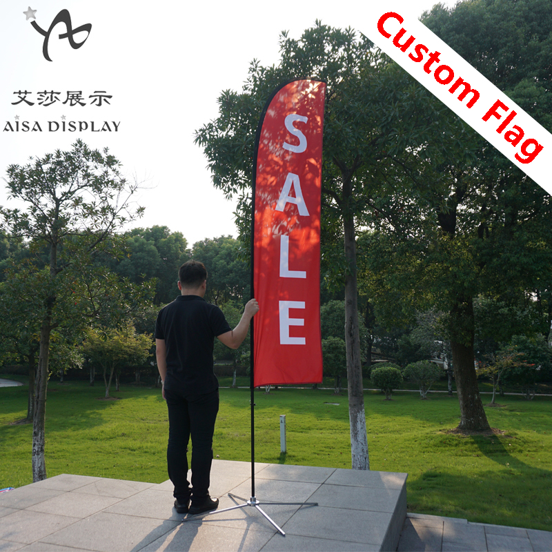 free shipping custom beach flags and feather flag pole with base outdoor advertising banners cheap promotion pringting flag kit(China)