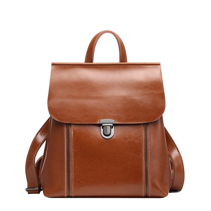 Fashion women oil wax cow split leather backpacks for teenage girls female backpacks 2 ways large capacity shoulder bags #Q0790 цена и фото