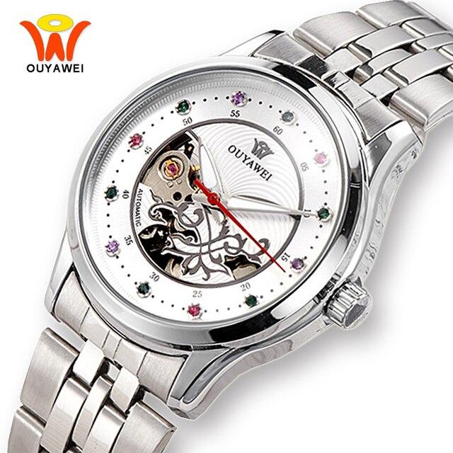 Для женщин автоматические механические Часы с костями женщина OUYAWEI Серебряный Нержавеющаясталь платье от кутюр Обувь для девочек наручные часы