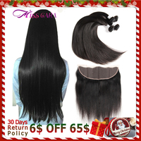 Peruvian Straight Hair 3/4 Bundles With Lace Frontal Closure 100% Human Hair With Frontal Closure Miss Cara Remy Hair Weaves