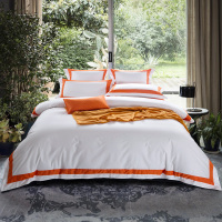ARNIGU orange Stripe 100% Cotton Queen King Super King size 4pcs Hotel Bedding set Flat/Fitted Sheet+duvet cover+pillow cases