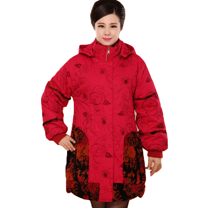 ФОТО Plus Size 5XL Mother Winter Outerwear 2016 Cotton Coats Thicken Warm Cotton-padded Coat Turtleneck Hooded Print Long Parka AA228