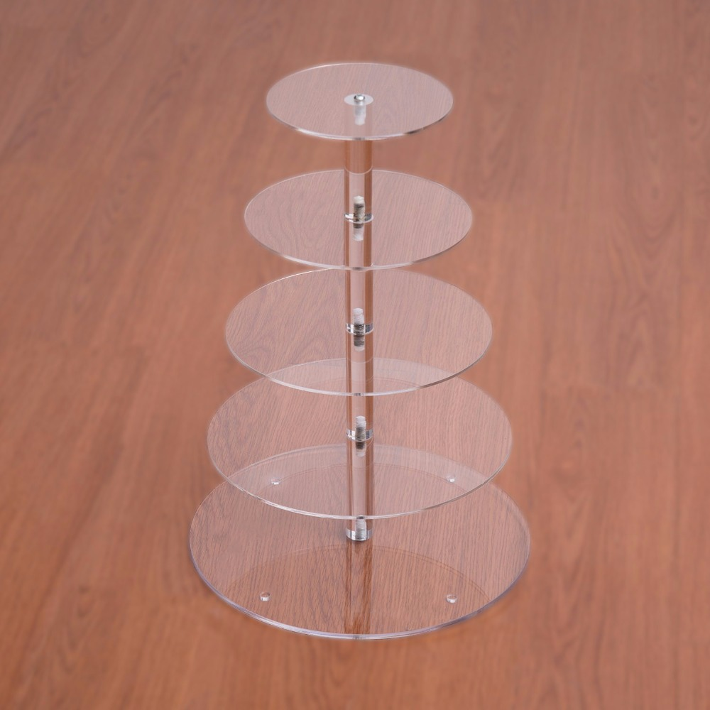 5 Tier Multi layer Mousse Cake Stand Acrylic Round Wedding Cake ...