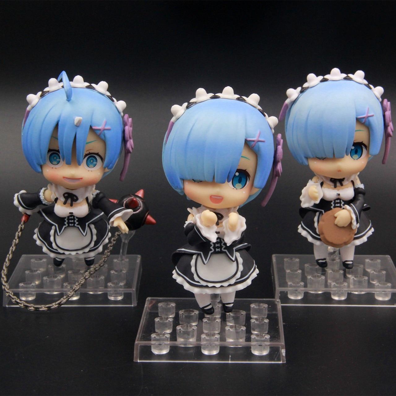 3pcs/lot Cute 3pcs Re: Zero kara Hajimeru Isekai Seikatsu Rem 3pcs Set Boxed 10cm PVC Action Figure Collection Model Doll 30#12 re life in a different world from zero model decoration 20cm rem and lahm swimsuit action figures