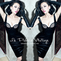 FREE SHIPPING Le palais limited edition vintage elegant sexy black  patchwork corsage type tight-fitting low-cut one-piece dress