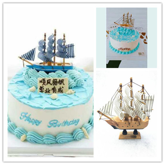 1pcs Sailboat Model Boat Cake Topper Wooden Ship Moldels Birthday