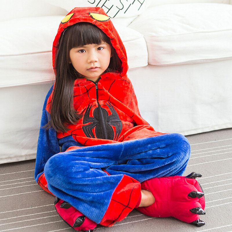 SPIDERMAN Pajama Kids Spider Cosplay Costume Children Onesie Kigurumi Sleepwear Animal Cartoon Flannel Warm Boy Girl Nightwear