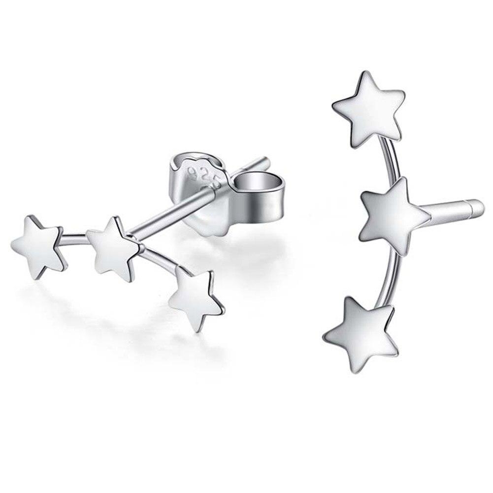 1 Pair 2016 Fashion Jewelry New Wholesale Three Star Men Teens Stud Earrings for women Cute Star earrings EAR0002