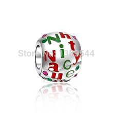 Everbling Christmas Crystal Round Naughty Nice Bead 925 Sterling Silver Charm Fit European Pandora Charms Bracelet