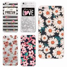 For iPhone 7 7Plus 6 6S 6Plus 5 5S SE 5C Floral Flowers Rose Pattern Cute Soft Transparent Silicon printed casey Cherry Blossom