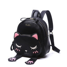 Cat Backpack Black Preppy Style School Backpacks Funny Quality Pu Leather Fashion Women Shoulder Bag Travel Back Pack Sac A Dos