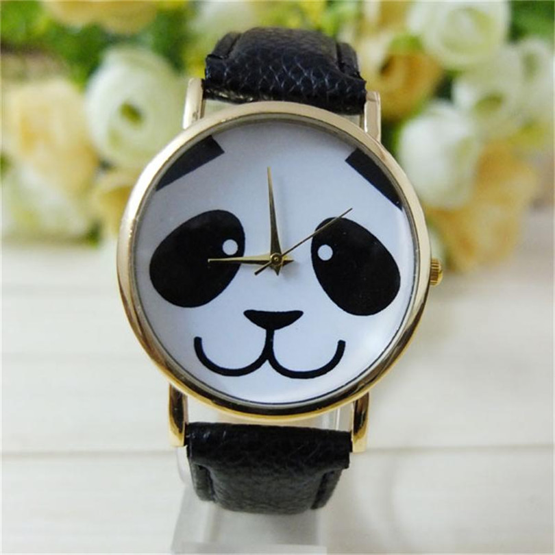 Women Watch Leather Band Fashion Lovely Panda Pattern Women's Watches Gold Dial Analog Quartz Wristwatches Womens Clock Jan15 quartz watch with small diamond dots indicate leather watch band hearts pattern dial for women