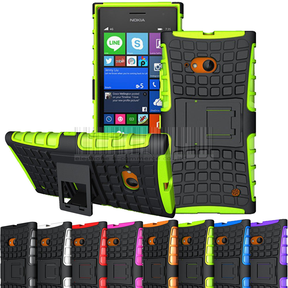 Tpu Pc Case For Nokia Dual Layer Heavy Duty Hybrid Armor Stand Hard 2in1 Brushed Soft Lg K8 Hardcase Shockproof Cover Lumia 730 735 In Fitted Cases From Cellphones