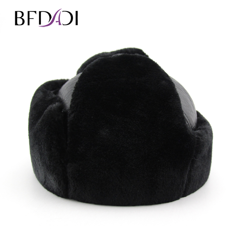 BFDADI Flaps-Cap Bomber-Hats Faux-Fur-Hat Russian Winter Warm Ear Men for Big-Size Thickened