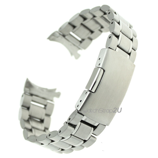 Por Stainless Steel Solid Links Watch Band Strap Bracelet Curved End 18mm 20mm 22mm