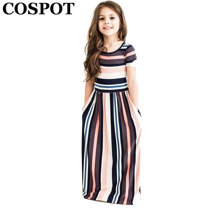 Vestidos largos de Playa de las muchachas del COSPOT vestido de rayas de manga corta bohemio de la muchacha del verano de la princesa 2 T-10 T 2019 nueva llegada 40E