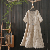 Japanese solid color Hook flower hollow embroidery o neck short sleeve cotton dress mori girl