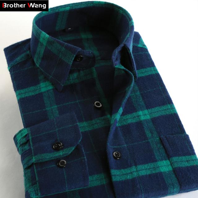 Camisa Xadrez Casuais dos homens de Negócios de Moda Masculina Multicolor Malha de Manga Comprida Camisa Magro Roupas de Marca S-4XL