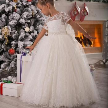 New Flower Girl Dresses Ball Gown Short Sleeves Party Pageant Communion Dress for Wedding Little Girls Kids/Children Dress new girls puffy dress with bow ball gown flower girls dresses for wedding baby girls birthday party dress pageant gown