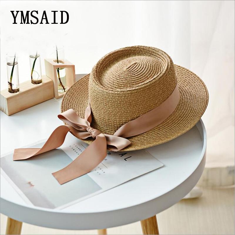 Ymsaid New Summer Sun Hats Women Fashion Girl Straw Hat  Ribbon Bow Beach Hat Casual Straw Flat Top Panama Hat Bone Feminino