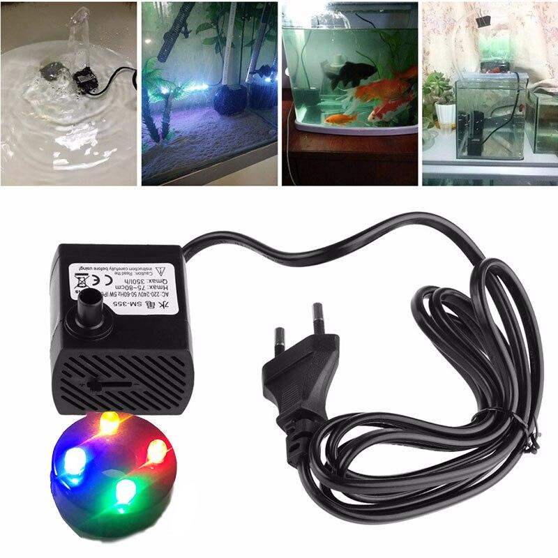 Mini aquarium air pump Water Pump for Rockery Fountain Fish Tank 5W 4 LED Lights Colorful Mini Water Pump Garden Sprinkle