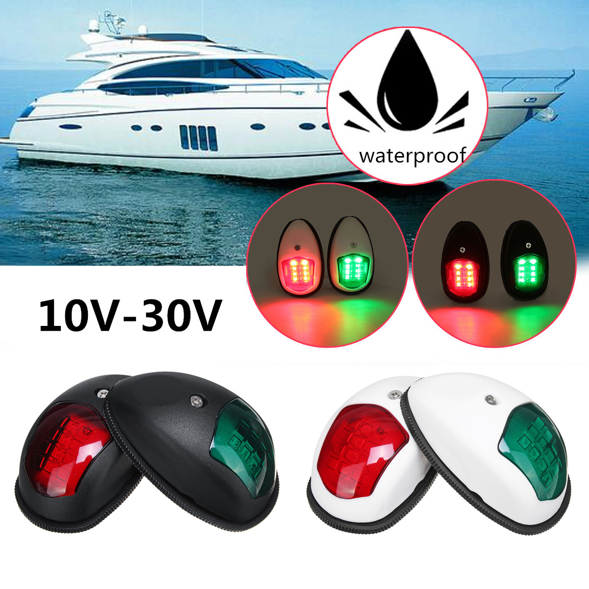 1Pair 10V-30V Universal 8 LED Navigation Signal Light Lamp Warning Lighting For Marine Boat Yacht Truck Trailer Van