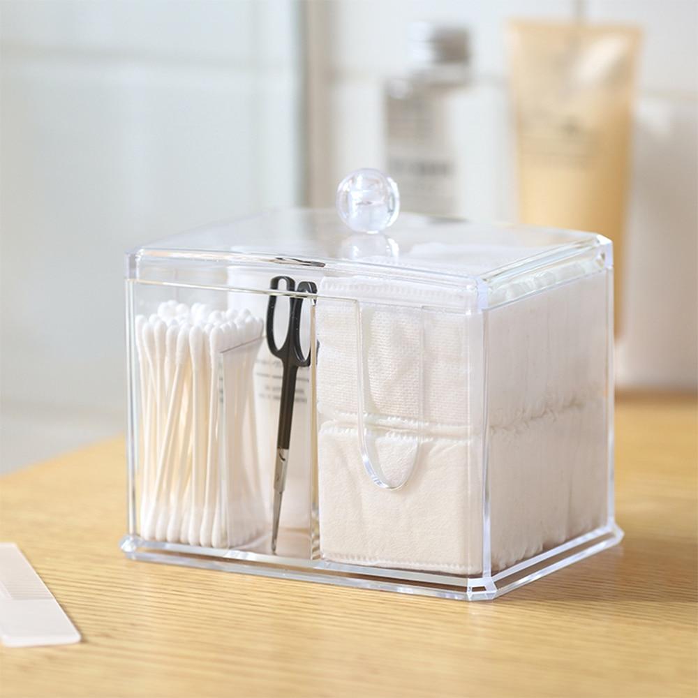 2018 New Cotton Swab Boxes Transparent Makeup Cotton Box Cosmetic Storage Case Multi - purpose Desktop Storage Box