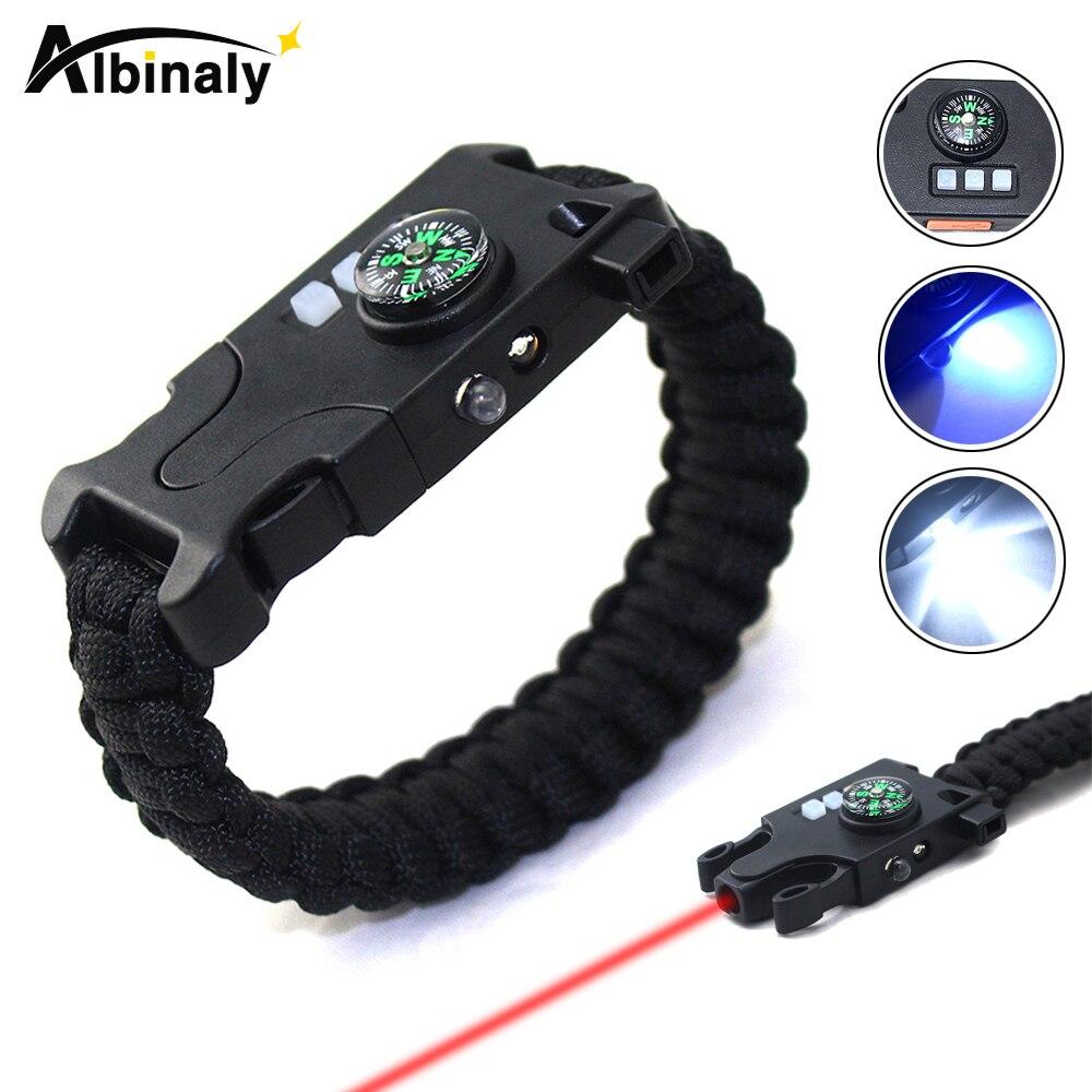 Multifonctionnel lampe de poche Rechargeable Bracelets de survie En Plein Air lampe de poche ultraviolet détecteur d'argent lampe Infrarouge laser