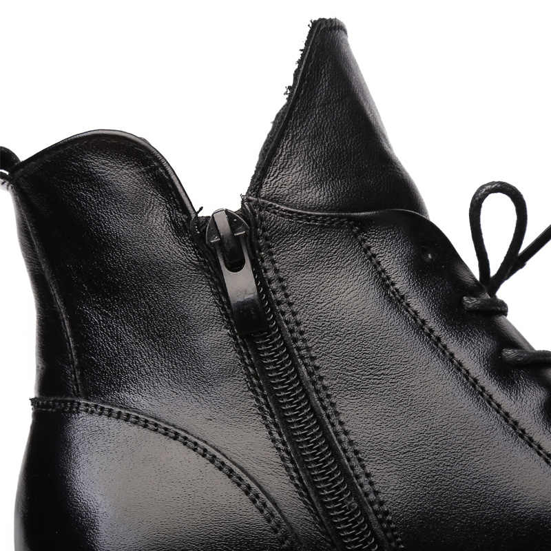 Drkanol Da Thật Chính Hãng Da Dày Gót Giày Bốt Nữ 2019 Đen Cứng Mùa Đông Cổ Chân Giày Xe Máy Botas Mũi Nhọn Ấm Nữ Giày Nữ