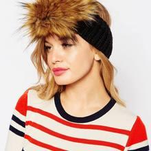 Вязаная Зимняя мода Искусственный мех отделка эластичной лентой ухо теплым Hat 3sb043 модные женские туфли Повседневное На зимнем меху шапка