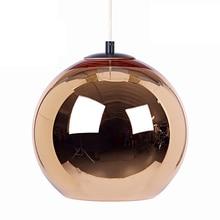 Modern Mini Globe Pendant Light, 1 Light in Copper Plated Glass Globe Shade+LED 5W bulb AC 110 220V