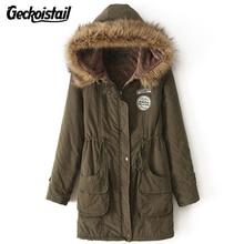 Geckoistail Parkas Women Coats Fashion Autumn Warm Winter Jackets Women Fur Collar Long Plus Size Hoodies Casual Cotton Outwear