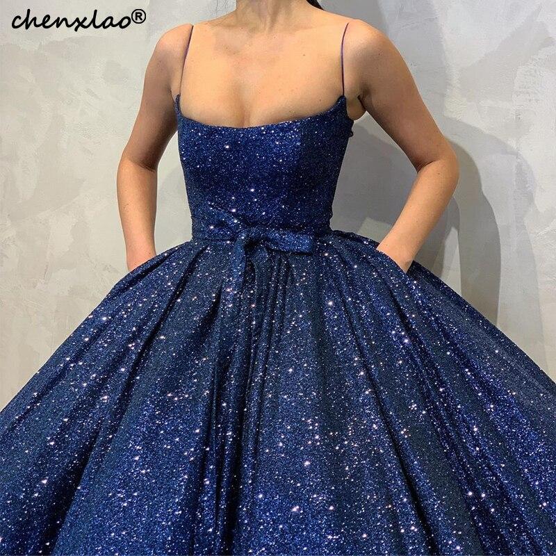 2019 New Dark Blue Evening Dresses Long Ball Gown Spaghetti Strap Floor Length Sequin Evening Dress Formal Party Gowns Vestidos