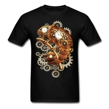 Natural Cotton Tees Shirt Teenage Costume Chameleon Steampunk T-shirt For Mens Fashion White T Shirt