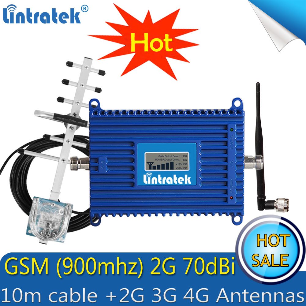 Lintratek Cell Phone 900mhz GSM Signal Repeater GSM Signal Booster GSM Signal Amplifier For Mobile Phone With Yagi Antenna