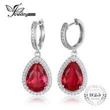 JewelryPalace Luxury Pear Cut 12.4ct Created Red Ruby Dangle Earrings Genuine 925 Sterling Silver Long Earrings Wedding Jewelry