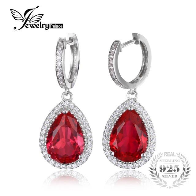 Jewelrypalace luxo pear cut 12.4ct criado red ruby dangle brincos genuíno 925 jóias de prata esterlina brincos longos casamento