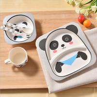 5 Pcs Set Bamboo Fiber Children Tableware Spoon Cup Dinnerware Set Infant Feeding Bowl Feeding Dishes