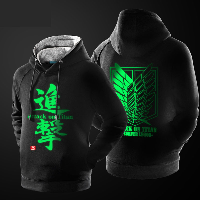Male Attack on Titan Hooded Sweatshirts Fleece Thick Luminous Hoodie For Winter Boys Youth Black Plus Size 3XL
