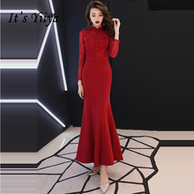 It's YiiYa Prom Gowns High Neck Wine Red Beading Illusion Full Sleeves Mermaid Ankle Length Plus Size 2019 Long Prom Dress E449
