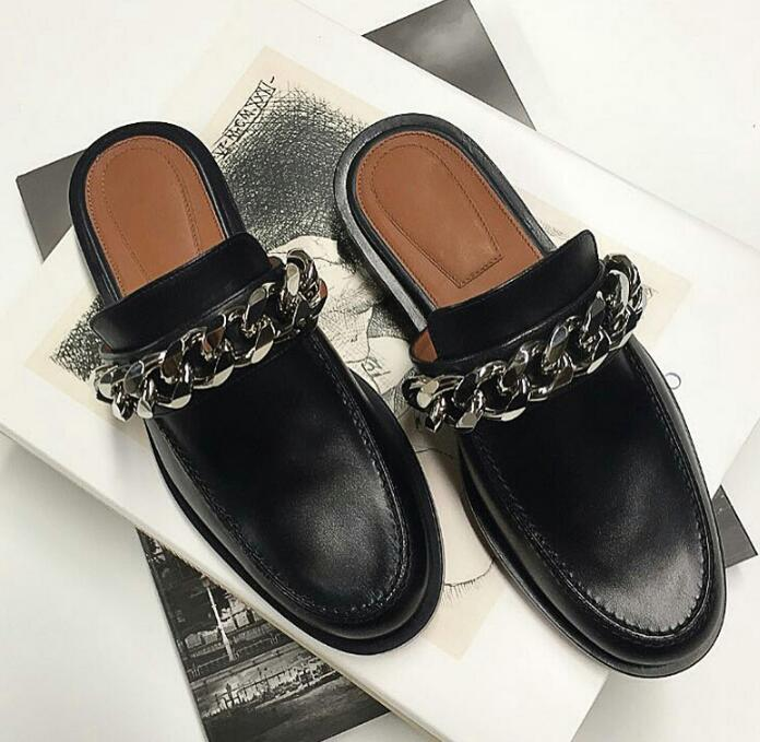 Fashion Silver Chain Women Slip On Black Leather Loafers Round Toe Ladies Spring Hot Flats Lazy Style Flats hot sale 2016 new fashion spring women flats black shoes ladies pointed toe slip on flat women s shoes size 33 43