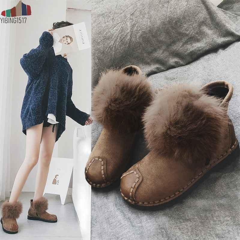 ขายร้อนผู้หญิงขนสัตว์ประดิษฐ์ snow รองเท้าบูทแฟชั่นสำหรับผู้หญิงคุณภาพสูงหนังวัวแท้ฤดูหนาวรองเท้าข้อเท้า
