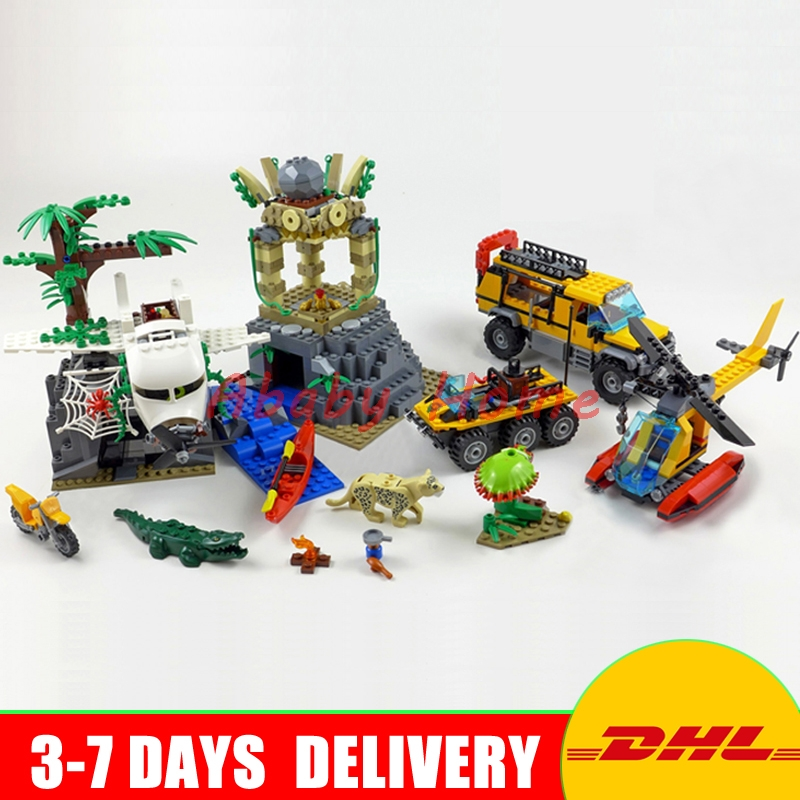 Lepin 02061 Genuine The Jungle Exploration Site Set DIY Toy City Series60161 Building Blocks Bricks Funny Christmas Gift For Kid lepin 02061 genuine city series the jungle exploration site set 60161 building blocks bricks christmas gift for children 870pcs