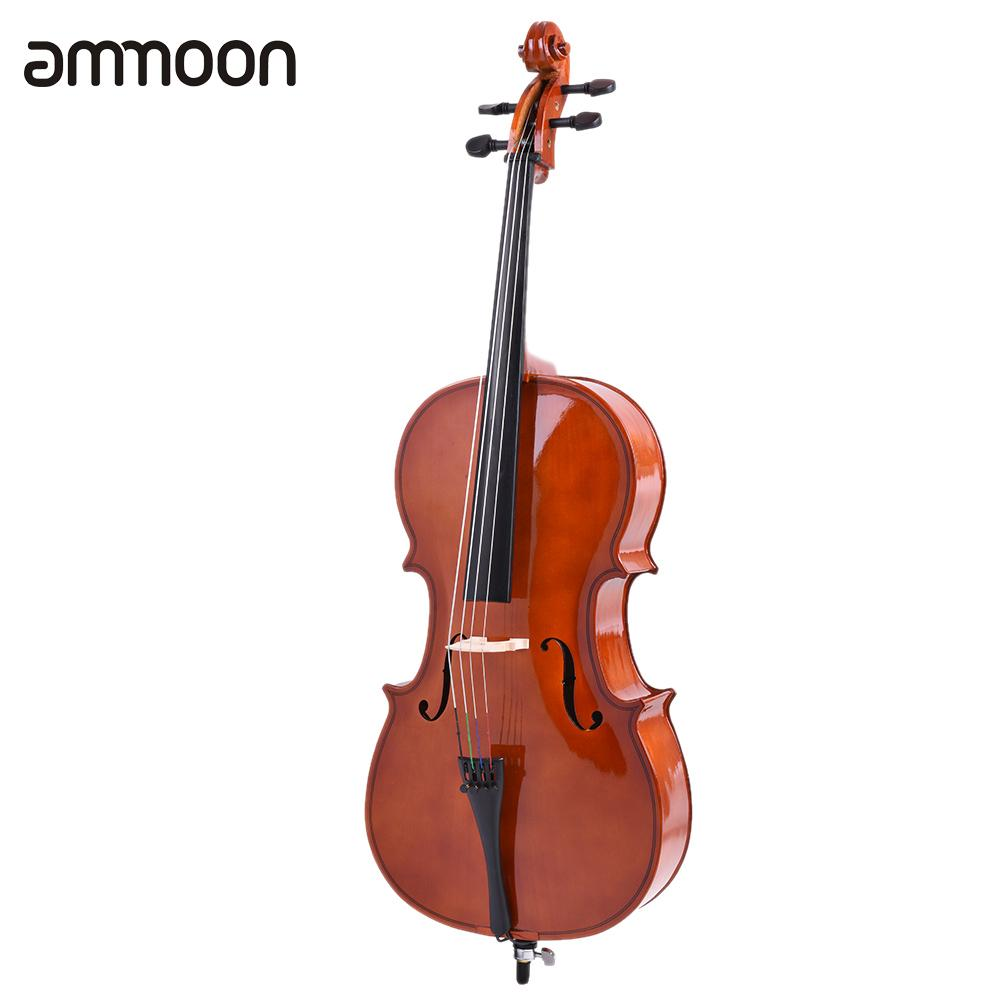 4/4 Cello Full Size Cello Solid Wood Cello Basswood Face Board With Bow Rosin Carrying Bag For Students Music Lovers