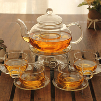 送料無料新しい到着クリエイティブ耐熱ボーンチャイナガラス花茶セットでキャンドル加熱ベースアフタヌーンティーセット|tea sets china|set teaset resistance -