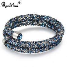RAVIMOUR Trendy Strand Bracelet for Women Men Jewelry Crystal Charms Bracelets & Bangles Costume Cuff Wristband Bijoux Femme New(China)