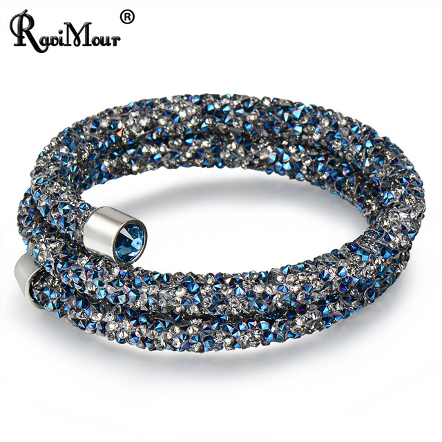 RAVIMOUR Trendy Strand Bracelet for Women Men Jewelry Crystal Charms Bracelets & Bangles Costume Cuff Wristband Bijoux Femme New